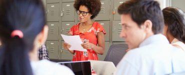 Woman running a meeting