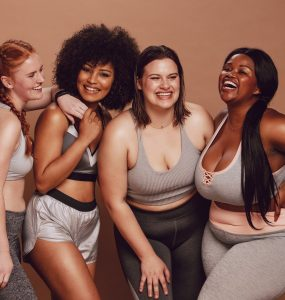 Group of women with different body shapes and sizes